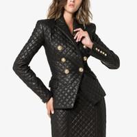 Premium New Style Top Qualität Original Design Frauen Klassische Gesteste Leder Blazer Jacke Metall Schnalles Slim Mantel