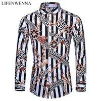 Casuals рубашка Мужчины осень Новое прибытие Personality рубашки печать с длинным рукавом Мужская мода Большой размер бизнес-офис Рубашка 6XL 7XL CX200619