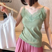 2019 women Summer Knitted Lace Women Camis V Neck Green Pink...