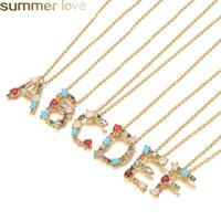 Fashion 26 Letter Initial Multicolor CZ Necklace Gold Color ...