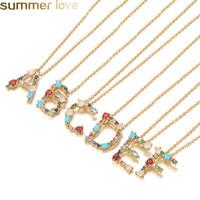 Mode 26 Buchstaben Anfängliche Multicolor CZ Halskette Gold Farbe Personalisierte Buchstaben Halskette Name Schmuck Für Frauen Zubehör Freundin Geschenke