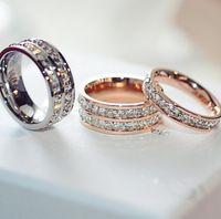 Anelli in acciaio inox in acciaio inossidabile per donna Gioielli da uomo Cubici zirconi in oro rosa argento anelli con cristallo diamante cz