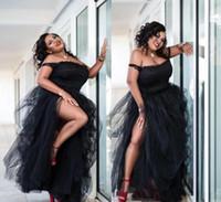 2019 nero sexy fuori dalla spalla abiti convenzionali Plus Size laterale Split Ruffles Prom Dress in pizzo abiti convenzionali Special Occasion personalizzate