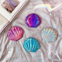 Hübscher Seashell-Make-upspiegel-bewegliche Taschen-2-seitige kompakte Spiegel-Laser-Farbe 4 färbt Mischfarbe Freies Verschiffen