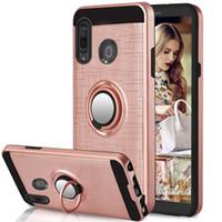 Caja de la armadura delgada para Samsung Galaxy S20 Ultra Plus 5G A51 A71 A01 A015F A20S S10E doble capa caja del teléfono Con la pata de cabra