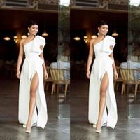 Simples puro branco um ombro vestidos de noite quente vestido de festa formal elegante vintage vintage vestido de festa