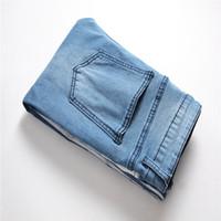 Zipper Slim Fit Hiphop Jeans Mens Designer Jeans Ripped Distressed longue bleu clair rayé Jean Pantalon