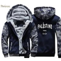 Gaza 팔레스타인 파리 5sos 까마귀 남성 재미 인쇄 후드 스웨터 캐주얼 코트 2018 겨울 두꺼운 양털 따뜻한 위장 재킷