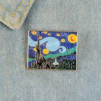 Van Gogh Retro Smalto Pin Starry Night Nero Badge Spille per le donne Pittura a olio Art Pittura Pittura a risvolto Pin Gioielli Regali