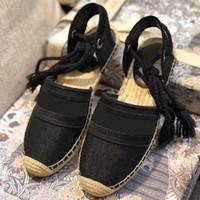 Los diseñadores de las mujeres Dazzle Flores con cordones de esparto sandalias de verano cómodo cuerda artesanal zapatos planos ocasionales con bordados con Oblicua