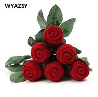 Bague Rose rouge Boîte personnalisée de mariage de velours cadeau de mode Saint-Valentin Originalité Engagement Boîte Boîte à bijoux d'emballage