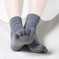 Qualidade homens de negócios Five Finger Toe meias de algodão Anti-odor Antifriction Tripulação Meias Masculino Casual Inverno meias térmicas 05552
