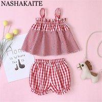 одежда NASHAKAITE Baby Girl Костюмы Мода Red Pliad Strappy Топ + шорты РЕБЁНОК набор Летняя одежда для новорожденных 0-3Y
