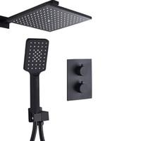 매트 블랙 온도 조절 수도꼭지 설정 온도 조절기 욕실 레인 샤워 분배기 시스템으로 플라스틱 HandShower
