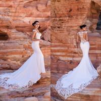 Abiti da sposa di campagna di lusso vintage 2020 modest senza maniche in rilievo sirena rep re repe colonna illusione posteriore ribaltabile Bodice Bidal Gowns