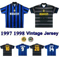 1997 1998 Inter Home Terceiro Retro Jerseys de futebol 97 98 Ronaldo Recoba Camiseta Zamorano Zanetti Simeone Kanu Djorkaeff Vintage Jersey