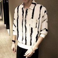 YASUGUOJI Dark Zebra Print Street Fashion Shirt Men Turn- dow...