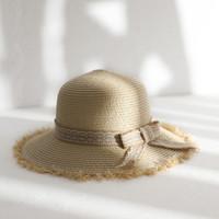 Naturel Grand Large Brim raphia chapeaux de paille tissé Cercle Fringe plage Cap été évider Big Straw Hat Bow Femmes Chapeaux # L5