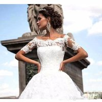 Sexy Off The Shoulder Lace Appliques Wedding Dresses With Sh...