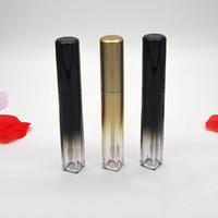 7 ml Lip Gloss Rohre leeren Lip Glaze Flasche, Verpackung Bottom Quadratisch Gold Schwarz-Steigung-Farben-Lippenstift-Container DHL frei