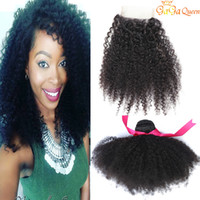 Brezilyalı Afro Kinky Kıvırcık Saç Kapatma ile 3 Demetleri Brezilyalı İnsan Saç Uzantıları 4x4 Dantel Kapatma Ile Afro Kinky Kıvırcık