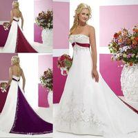 Witte en rode vintage trouwjurken 2019 strapless bruidsjurken met kralen borduurwerk empire strapless veter-up corset trouwjurken