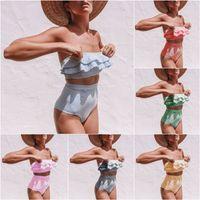الفتيات مخطط ملابس السباحة غير النظامية امرأة مخصر بيكيني لوتس ليف قطعتين ملابس السباحة الأزياء ل بدلة الشاطئ HHA1336