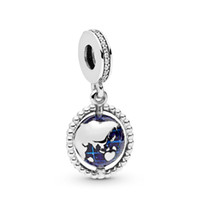 New Authentic Spinning 925 Sterling Silver Charm azul do esmalte Globo Com World Map Pendant Bead Fit Marca Charm Bracelet Bangle DIY jóias