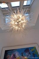 في مهب شحن مجاني AC LED مخصص نمط مورانو زجاج البورسليكات اليد فن الزجاج قلادة الثريا الإضاءة