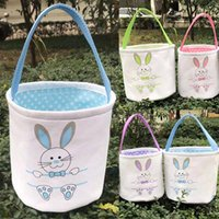 Easter Basket Rabbit Bunny Ears Canvas Bucket Bags Easter Eg...