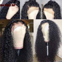 Hotselling profonde perruque de cheveux humains de simulation bouclée pré épilée avec des cheveux de bébé crépus bouclés complet avant de lacet perruques synthétique pour les femmes noires