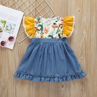 Vieeoease Girls Dress Flower Kids Clothing 2019 Summer Fashion Fly Sleeve Denim Ruffle Princess Dress CC-358