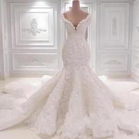 Images réelles Luxueuse Arabie Saoudite Robes De Mariée Saoudie Scoop Col Col Full Dentelle Applique Cathédrale Train De Wedding Bridal Robes de mariée