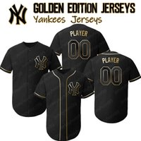 New York Custom Yankees jerseys Golden Edition Aaron Judge Jersey Mariano Rivera Mickey Mantle Derek Jeter