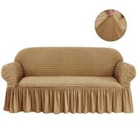 3 인승 탄성 소파 커버 안락 의자 소파 소파 장식 우아한 스커트와 170~230cm 3D 격자 무늬 커버 유니버설 가구 커버