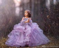 2019 Apliques de encaje color lila con flores en 3D Vestidos de niñas adornados con flores Volantes de tul Vestidos de fiesta para niños en forma formal Comunión personalizada