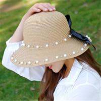 Moda Pérola Bow chapéus de palha de férias chapéu de praia womens largo borda chapéus de alta qualidade chapéu de sol maré pescador chapéus 3 cores