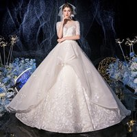 Реальные фотографии! Шампанское свадебное платье 2020 экипаж шеи 1/2 рукава бусы на шнуровке свадебные интернет-магазины мяч халат плюс размер платья
