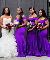 Denizkızı ile Koyu Mor Nedime Elbiseler Kapalı Omuz Düğün Konuk Partisi Elbise Hizmetçi Onun Törenlerinde Kadın Parti Örgün Giyim 2019