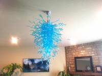 Zhongshan Lightings Boca Lámparas sopladas Chandeliers Iluminación Ahorro de energía Turquoise Chandelier Vidrio Arte Colgante Lámpara Diseños para Decoración del Hogar