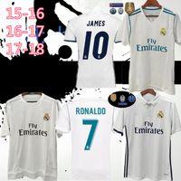 2015 16 2017 2018 Retro Gerçek Madrid Futbol Formaları 10 # Modric # 9 Benzema Bale Ev Beyaz Futbol Gömlek Retro Futbol Üniformaları Özelleştirilmiş