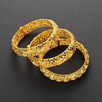 Hot Mais novo Hollow Bangle 18k Amarelo Ouro Cheio Womens Pulseira Casamento Acessórios Noiva moda Belo presente