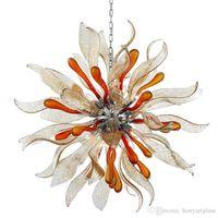 Lampadario in vetro soffiato fiore rotondo a mano, lampadario colorato di arte Murano per villa scala ufficio decorazione a soffitto