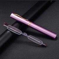 Mini Lector compacto compacto Gafas de lectura Mujeres Hombres Bolsillo barato Gafas de lectura con estuche de tubo con clip