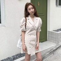 Light Mature Double Buttons Dress Puff Sleeve Slim Fit Short...