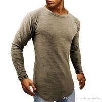 Tasarımcı Tshirts İlkbahar Sonbahar Muscle Slim Fit Uzun kollu Tees Mens Longline kavisli Tops