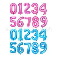 40 인치 바다 블루 (핑크) 0-9 번호 호일 풍선 대형 자리 헬륨 풍선 결혼식 장식 생일 파티 용품 베이비 샤워