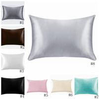 20 * 26 pulgadas de satén de seda almohada Inicio multicolor de seda del hielo funda de almohada almohada cubierta de la cremallera de doble cara del sobre de cama y almohada cubierta EEA1167
