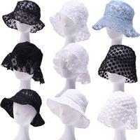 Кружева цветочные Рыбацкая шляпа женщины INS лето ведро шляпа выдалбливают цветы солнцезащитные шляпы солнцезащитный козырек дышащие шапки LJJO7916
