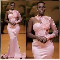 African Nigérian Black Filles Robe Robe de soirée Sirène Rose One Épaule Robe de bal à manches longues Robe de soirée Formelle Robes de soirée Abendkleider